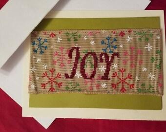 Joy, Handstitched Winter Greeting Card