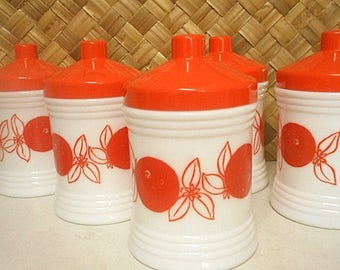 Milk Glass Storage Jars  - Set of Five - Retro Orange Patterned