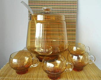 Glass Punch Bowl Vintage 60s Poland with Ladle and Eight Punch Cups