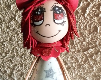 Personalized Nightlight with doll red and silver