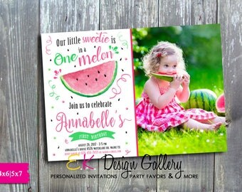 Watermelon Photo Invitation, Watermelon Birthday Invitation, Watermelon Party, One in a Melon Invitation, Girl First Birthday Invite