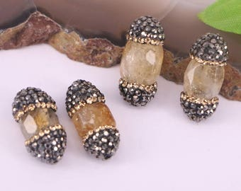 10Pcs  Natural Stone Pave Rhinestone Spacer Loose Beads Jewelry Finding