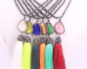 5Strands Black Hematite Beads necklace handmade,fashion pave zircon cat eye stone cord tassel pendant necklaces