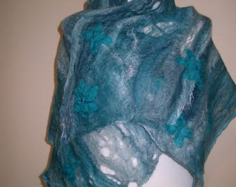 Ladies Teal Green scarf, Green wool felted scarf,  Merino wool silk scarf, Felted wool wrap, Teal evening scarf, Mothers Day Gift