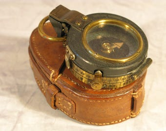 Antique Edwardian WW1 British Army Leather Cased Verner's Pattern Mk VIII Marching Compass Circa 1917