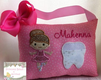 tooth fairy pillow, girls toothfairy pillow, personalized tooth fairy pillow