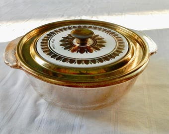 Georges Briard Serving Dish - Mid Century Fire King Covered Dish - Mid Century Designer Serving Dish - Briard Lidded and Gold Speckled Dish