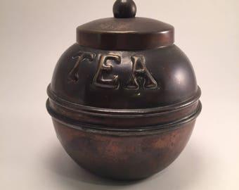 Miniature  copper tea caddy