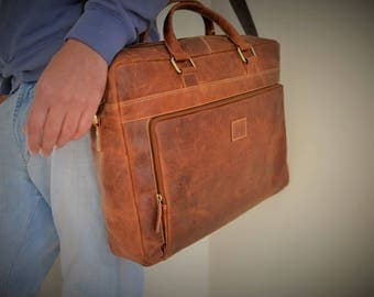 17 Inch Leather Satchel / Leather Laptop Bag / Vintage Leather Briefcase / Rustic Briefcase / Mens Briefcase Genuine Real Leather