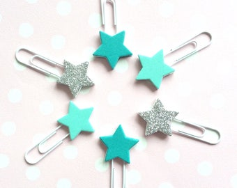 Teal & silver star bookmarks - glitter paperclip planner clips- planner accessories - page marker - stationery - set of 6