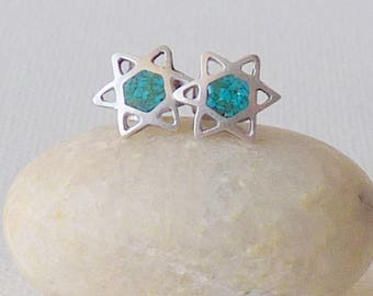 Sterling Silver Crushed Turquoise Jewish Star Earrings David Star Turquise Sterling Silver Sud 925 Star Earrings Stud, Turquoise Jewelry 925