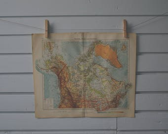 1928 Vintage Map of Canada