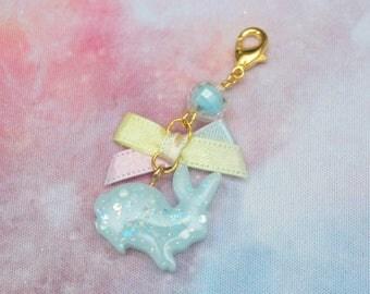 Bite Sized Bunny Charm in Glitter Blue