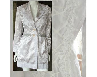 Vintage re-purposed wedding jacket silver grey white 3/4 length