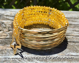 Yellow Beaded Bracelet with gold plated connectors - Pulsera Semanario color amarillo con conectores de laminado de oro