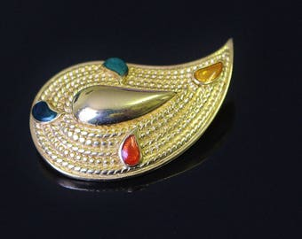 Vintage Avon Paisley Colours Brooch Pin 1986 Curved Tear Drop Shape Emerald Green Terra-Cotta Amber Turquoise Enamel Splashes Gold Tone