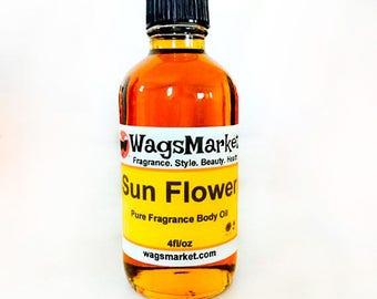 Sun Flower, 1oz Glass Bottle, Pure Fragrance Body Oil