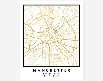 Manchester Map Coordinates Print - United Kingdom City Street Map Art Poster, Gold Manchester Map Print, Manchester England Coordinates Map