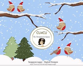 Christmas Robin Clipart, Digital Scrapbooking, Christmas Robins Christmas, CU4CU