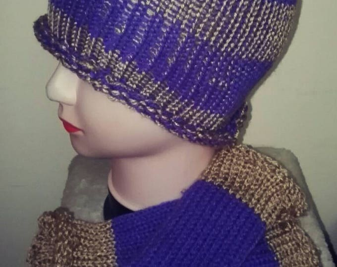 Purple and Gold Unique Ladies Winter Beanie Hat and Fingerless Glove Handmade knitted Gift Set only one made #GiftForHer