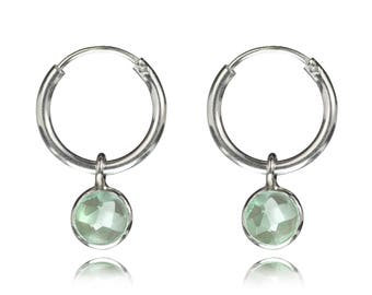 925 Sterling Silver Hoop Earring with Green Calcidony Charm, Green aqua chalcedony, nickel-free