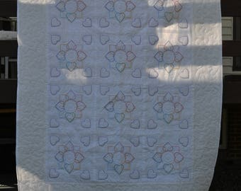 Cross Stitched Heart Circle Quilt