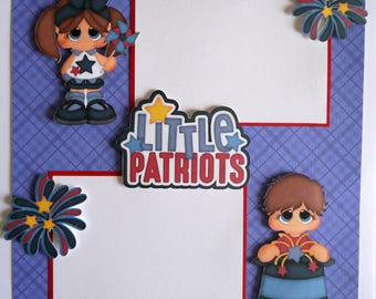 LITTLE PATRIOTS premade 12x12 scrapbook page paper piecing baby boy or girl 4th of July