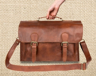 """Leather Satchel – Messenger Bag – Briefcase –School Bag – Work Bag with 15"""" Laptop Capacity in Vintage Brown by MAHI Leather"""