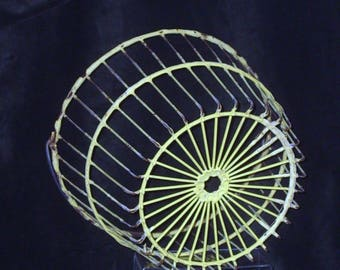 Antique Metal Wire Basket, Rustic Basket from Farmhouse, Yellow Egg Basket, Handled Retro Storage Basket, Golf Ball Bucket, Lampshade #8