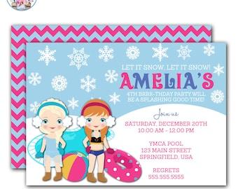 Frozen Pool Party Invitation, Frozen Invitation, Winter Pool Party Invitation, Frozen Winter Pool Party Invitation, Frozen Birthday Party