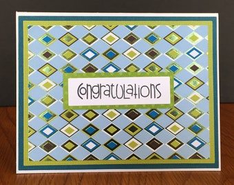 Handmade Congratulations Card with Geometrical Design-Happy Birthday, Get Well, Thanks Handmade Cards
