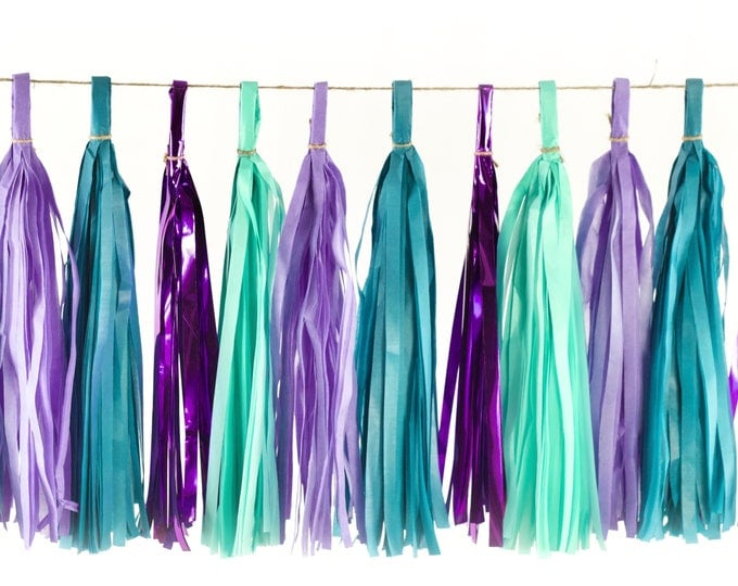 Mermaid Tales Tassels, Tissue Tassels, Tassel Banner, Birthday Party Decor, DIY Tassels, Girl, Wedding Baby Shower Bachelorette Ocean Beachy