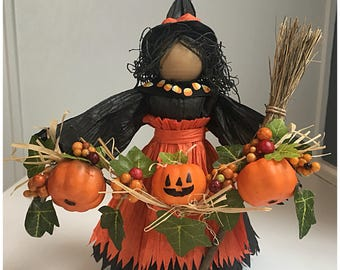 Halloween Witch Doll. Halloween Figurine. Halloween Decorations. Halloween Party. Witch. Unique Witch. Handmade Witch Doll. Pumpkin Decor