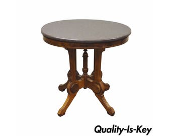 Antique Victorian Marble Top Carved Walnut Oval Eastlake Side Accent Table Vintage