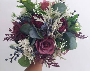Wedding flowers etsy bridal bouquets wedding bouquet wedding flowers artificial wedding bouquet burgundy wine junglespirit