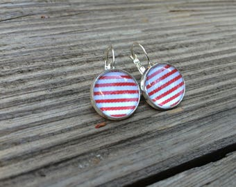 Earrings cabochons red stripes