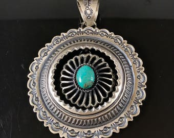 Large turquoise sandcast sterling silver dangle pendant turquoise pendant sandcast pendant Native American jewelry navajo pendant