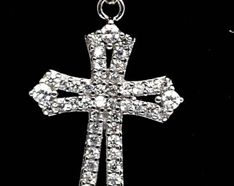 Christian Cross Pendant Sterling Silver 925 With Littels Crystal Gemstone