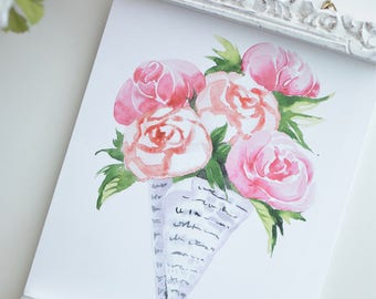 Flower Bouquet in Newspaper, Floral Newspaper Art Print