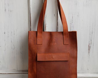 Brown leather tote bag - leather tote - shoulder bag - brown leather tote - handmade tote bag - shopping bag