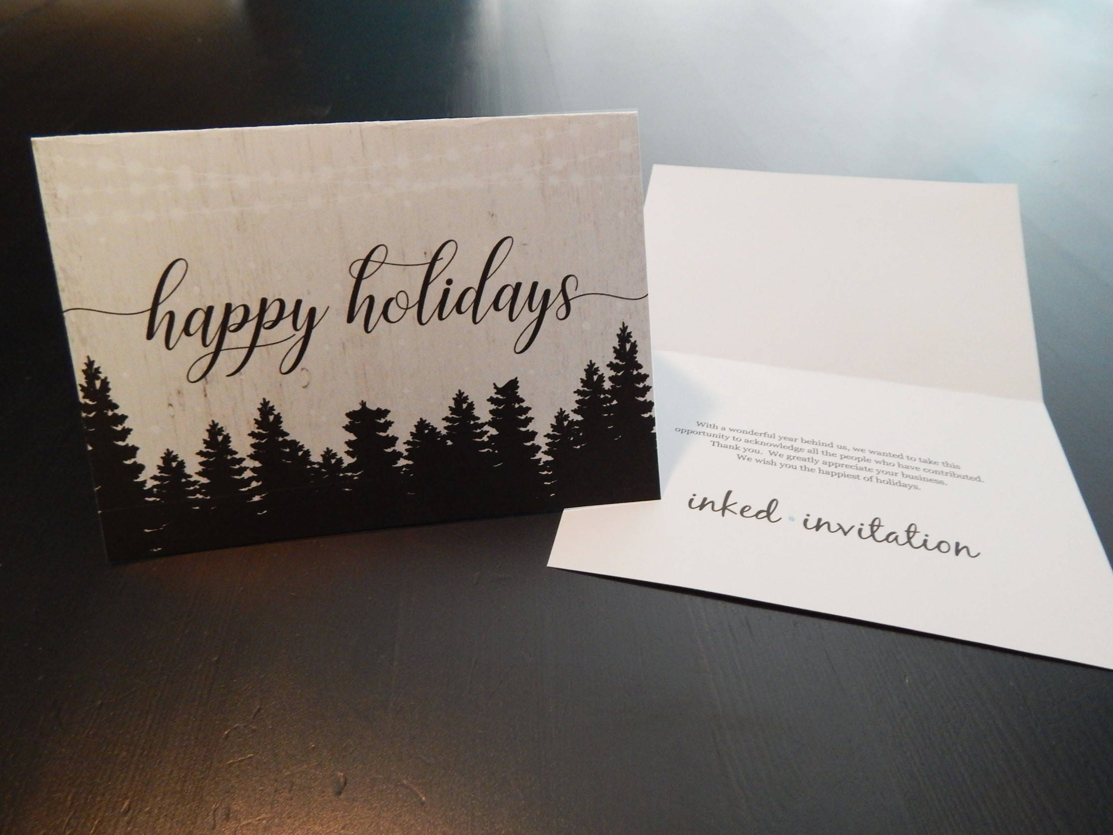 Add business logo holiday card printable corporate for Business christmas cards personalized