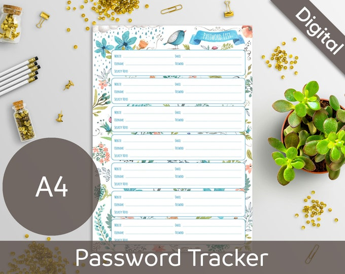A4 Password Book, Password List, Log, Keeper, Tracker, Journal, Printable Refill, Insert, Arinne Blue Bird DIY Planner PDF Instant Download