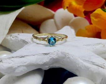 SALE! Round Tiny Ring - Blue Topaz Ring - December Birthstone Ring - Gemstone Ring - Stacking Ring - Gold Ring - Simple Ring