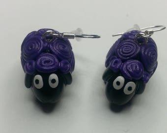 "Earrings in polymer clay ""Purple sheep"""