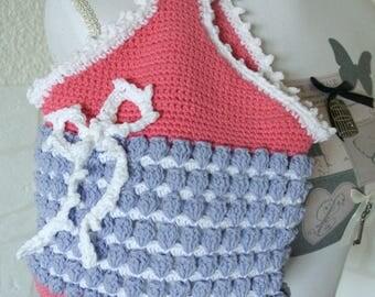 """Basket crochet for girls """"White bow"""""""