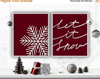SALE Let it Snow Holiday Decor Christmas Print Snowflake Printable Holiday Print DIY Christmas Snowflake Poster
