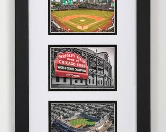 Chicago Cubs Collage Frame 12x20, Chicago Cubs Three Photo Set, Cubs Neon Sign, Cubs Gift, MLB, Mens Gift, Man Cave, Baseball, Wrigley Field