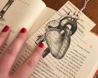 Human Heart B&W Vintage Library Due Date Card Bookmark / Anatomy / Library Nostalgia