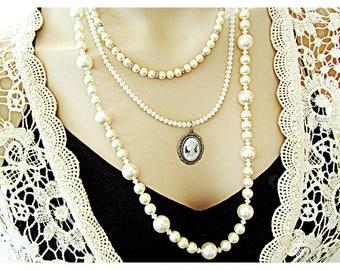 Multi Strand Bridal Necklace, Layered Bridal Necklace, Pearl Crystal Bridal Necklace, Multi Layer Pearl Necklace, Elegant Victorian Necklace