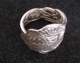 Spoon Ring with Stylized Eagle